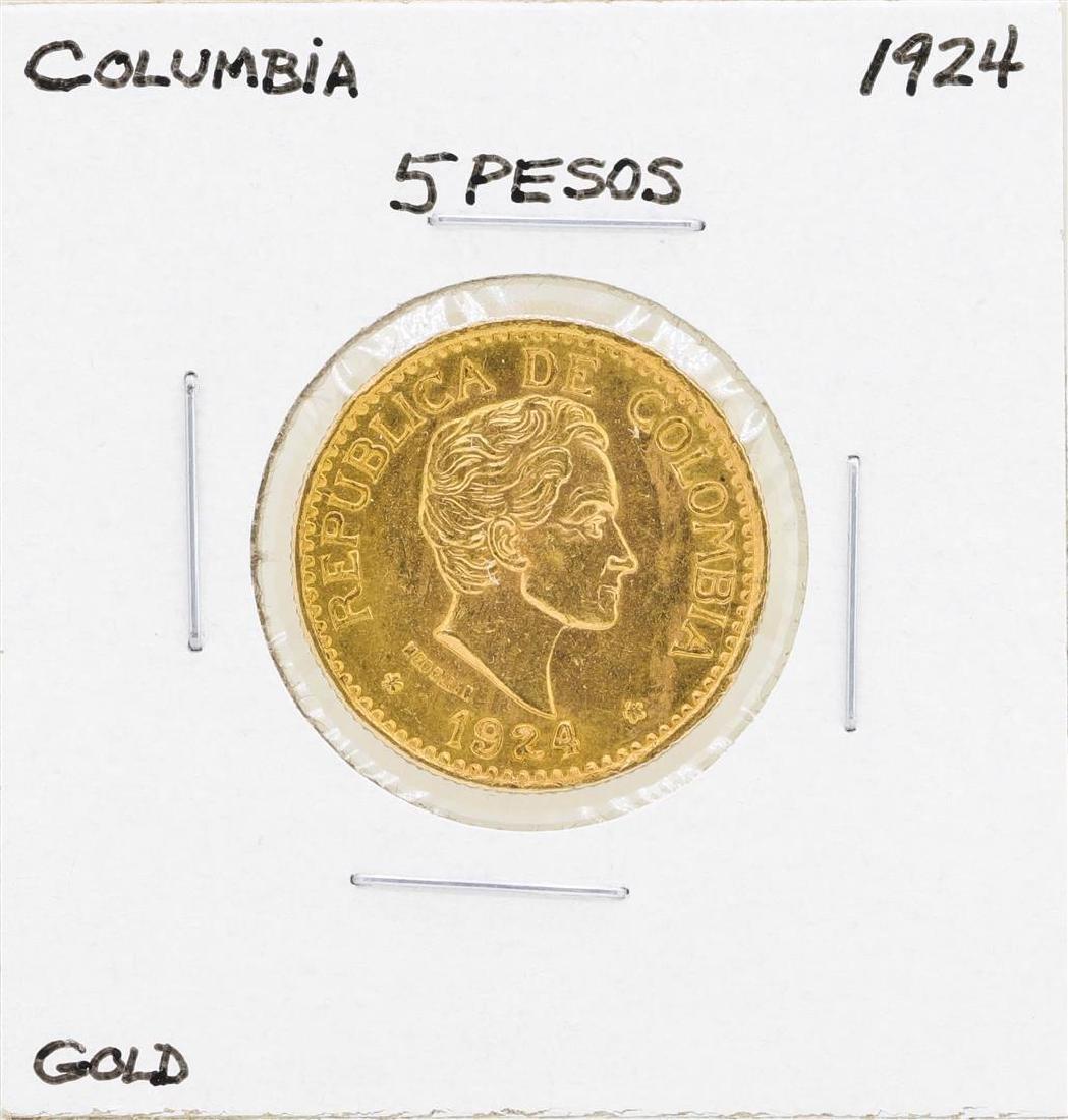 1924 Columbia 5 Pesos Gold Coin