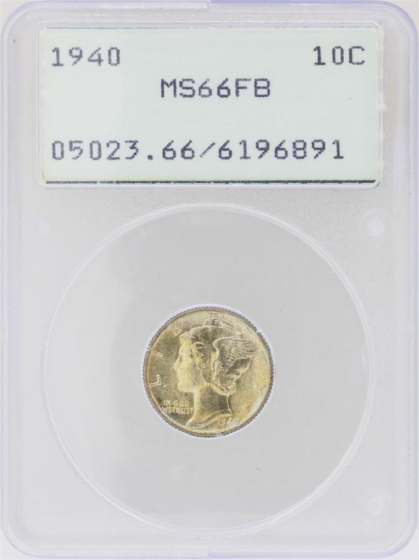 1940 Mercury Dime Coin PCGS MS66FB Rattler