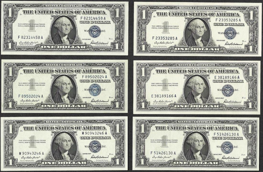 Lot of (6) 1957 $1 Silver Certificate Notes