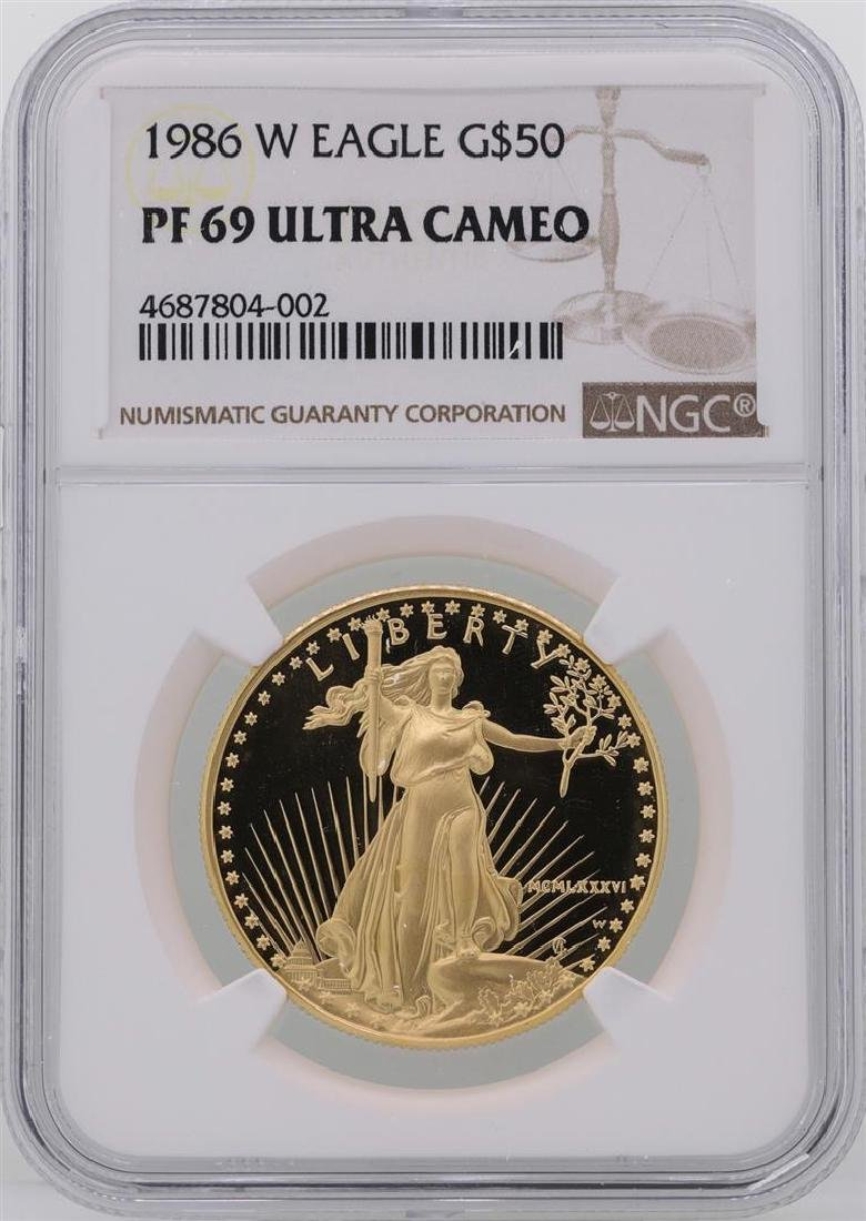 1986-W $50 American Gold Eagle Coin NGC PF69 Ultra