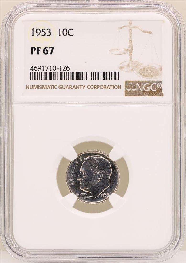 1953 Roosevelt Dime Proof Coin NGC PF67