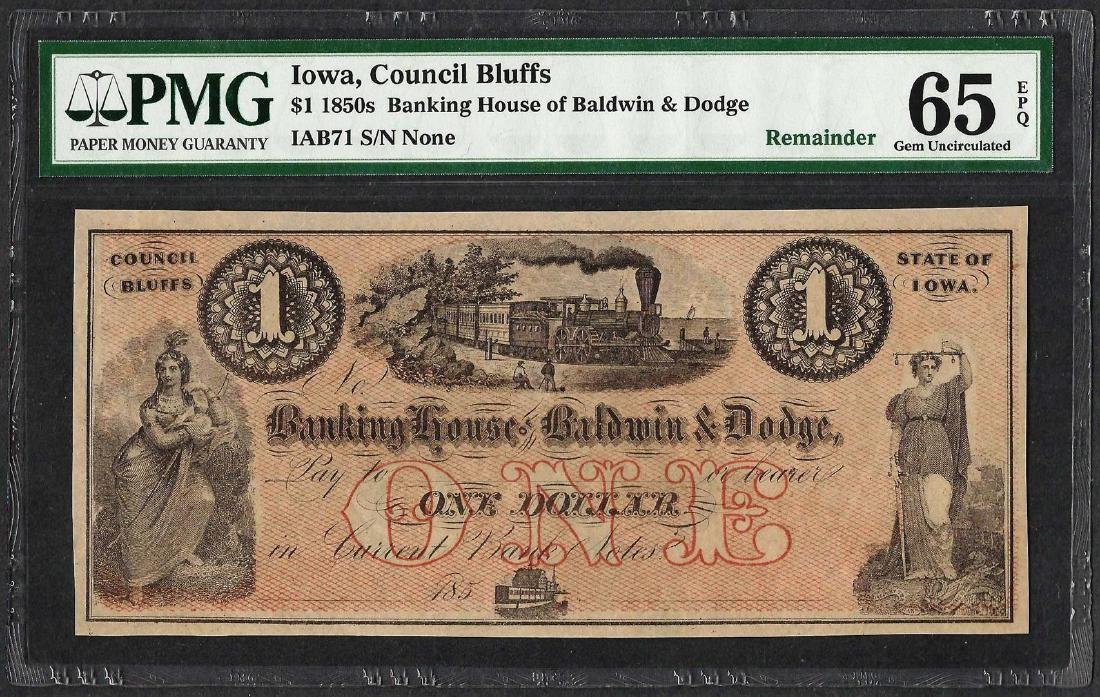 1850's $1 Banking House of Baldwin & Dodge Obsolete