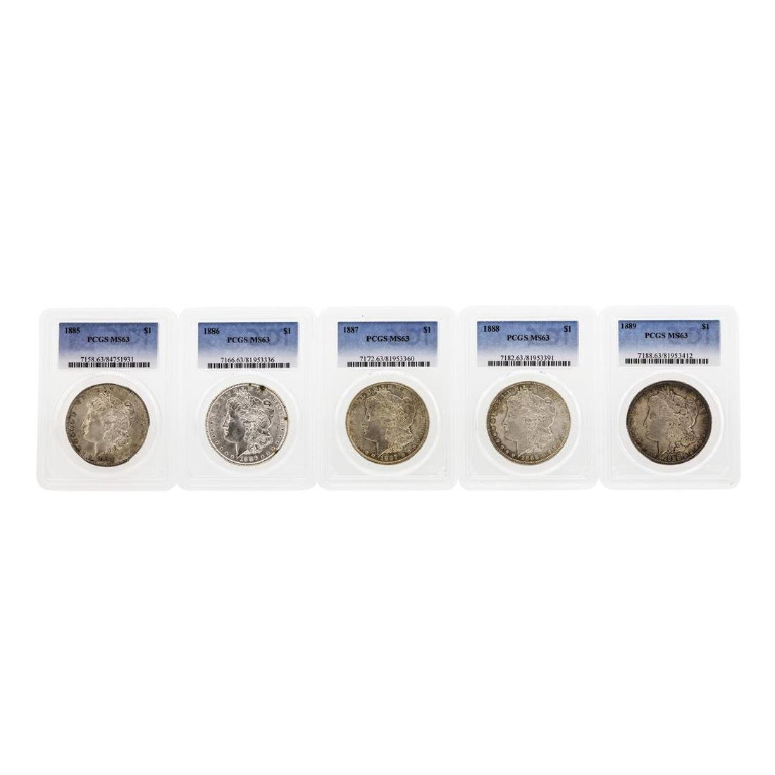 Set of (5) 1885-1889 $1 Morgan Silver Dollar Coins PCGS