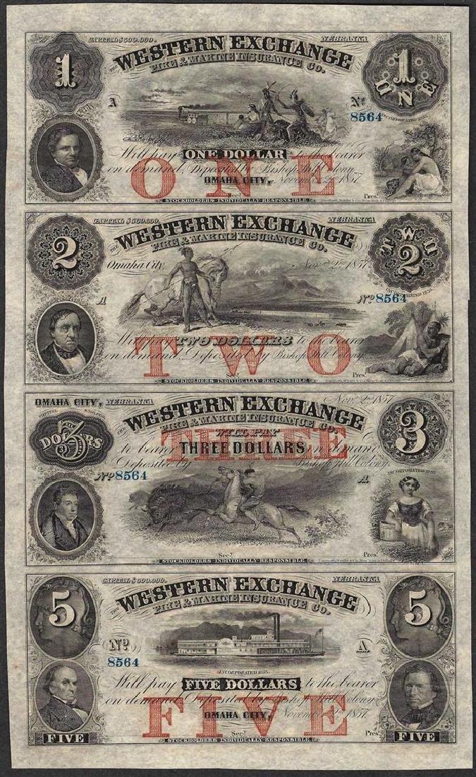 Uncut Sheet of 1857 Western Exchange Fire & Marine