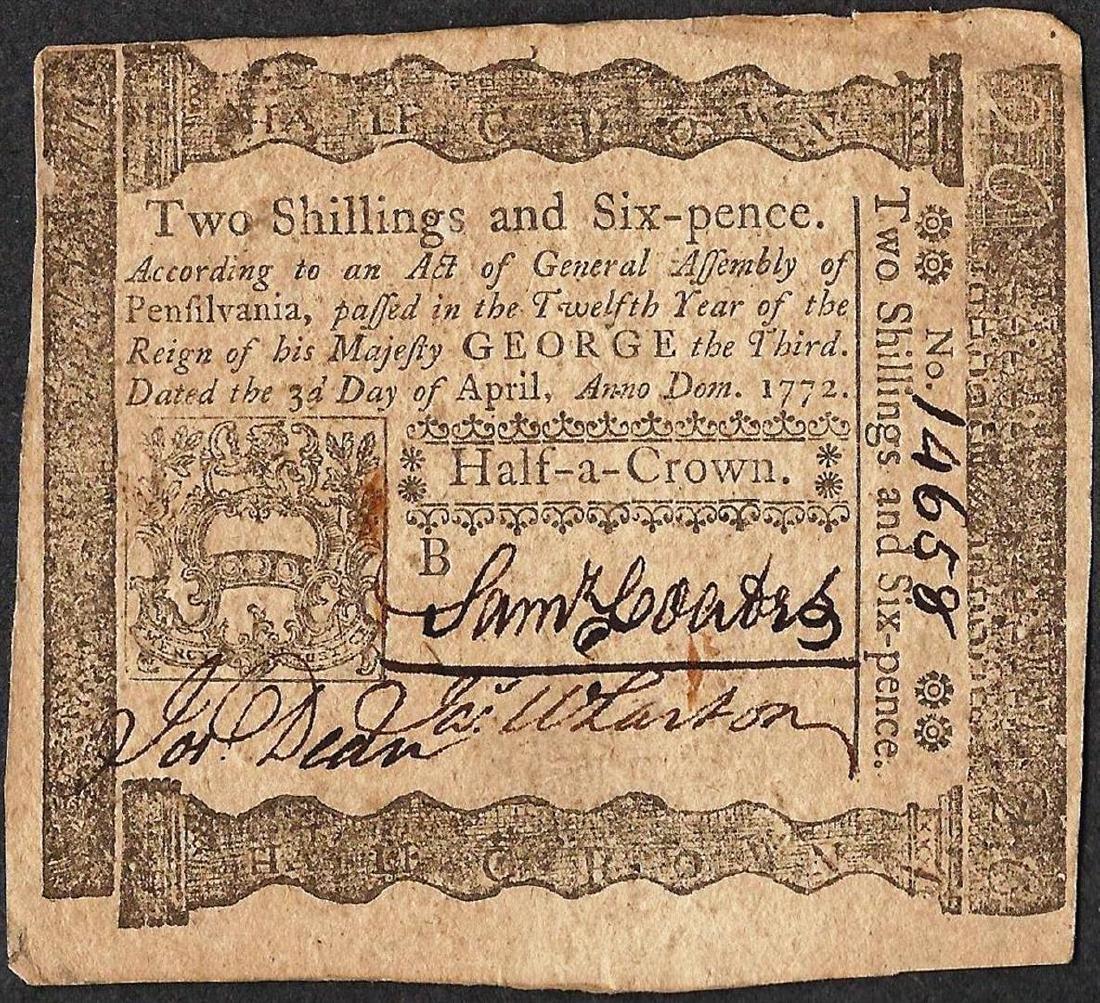 April 3, 1772 Pennsylvania Two Shillings Six Pence