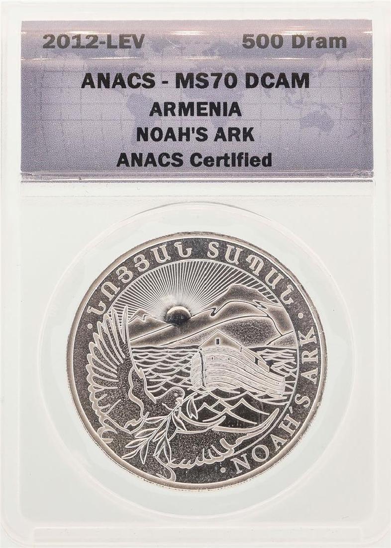 2012 Armenia Noah's Ark Silver Coin ANACS MS70DCAM