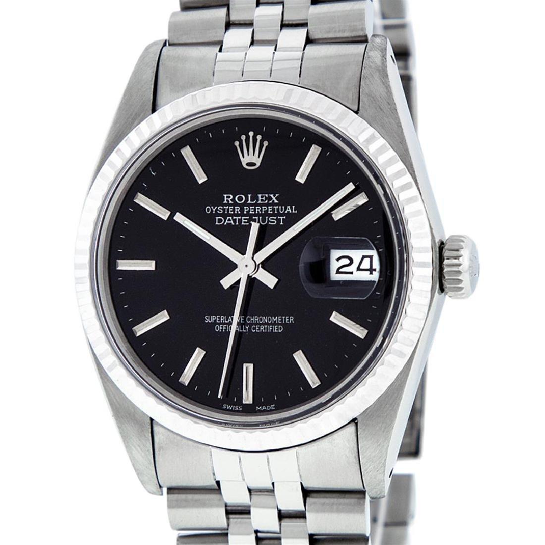 Rolex Men's Stainless Steel Black Index 36mm Datejust - 2