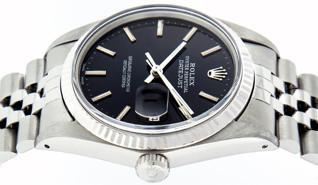 Rolex Men's Stainless Steel Black Index 36mm Datejust - 4