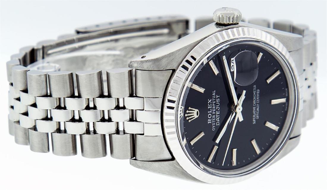 Rolex Men's Stainless Steel Black Index 36mm Datejust - 9