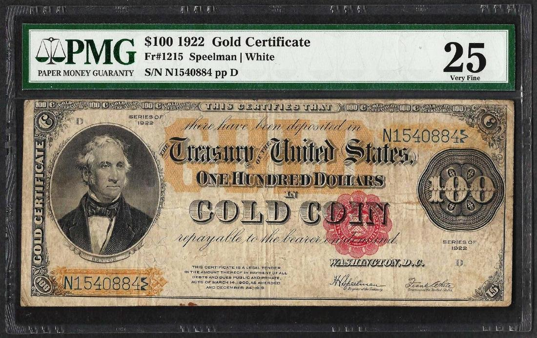 1922 $100 Gold Certificate Note Fr.1215 PMG Very Fine