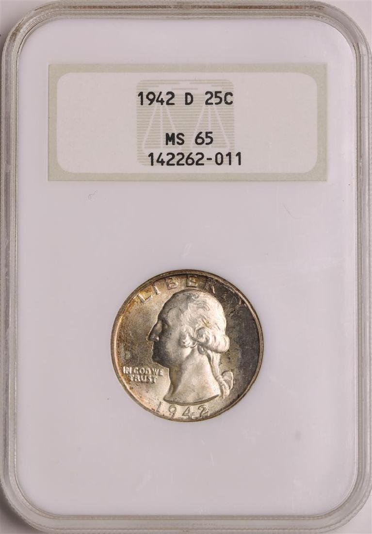 1942-D Washington Quarter Coin NGC MS65 Old Holder