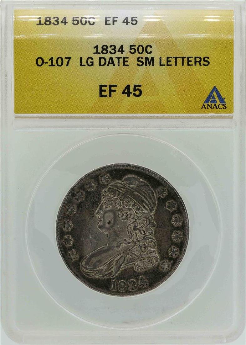 1834 Capped Bust Half Dollar Coin O-107 Large Date