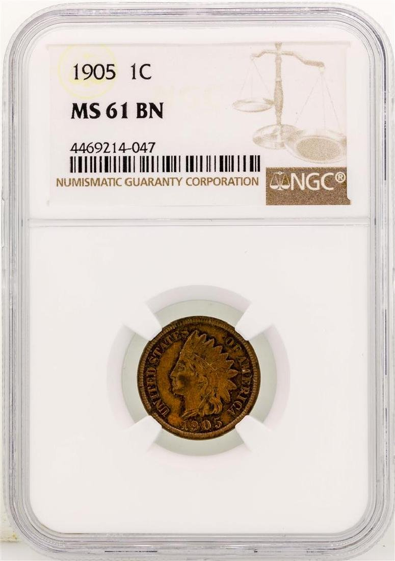 1905 Indian Head Cent Coin NGC MS61 BN