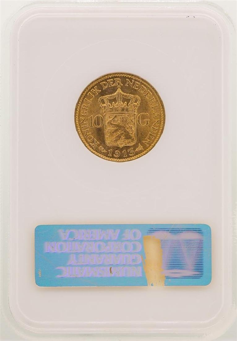 1913 Netherland 10 Gulden Gold Coin NGC MS64 - 2