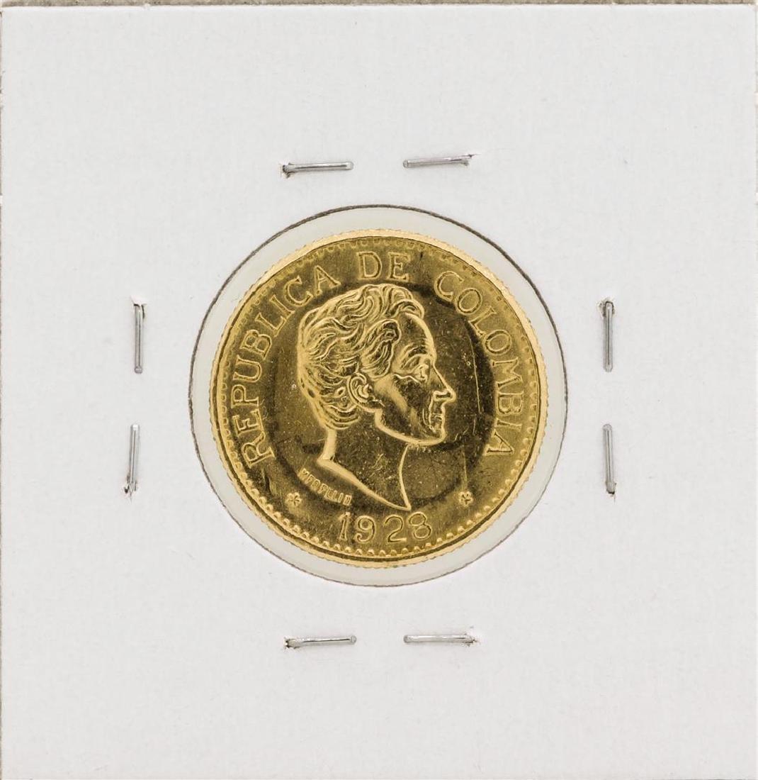1928 Columbia 5 Pesos Gold Coin - 2