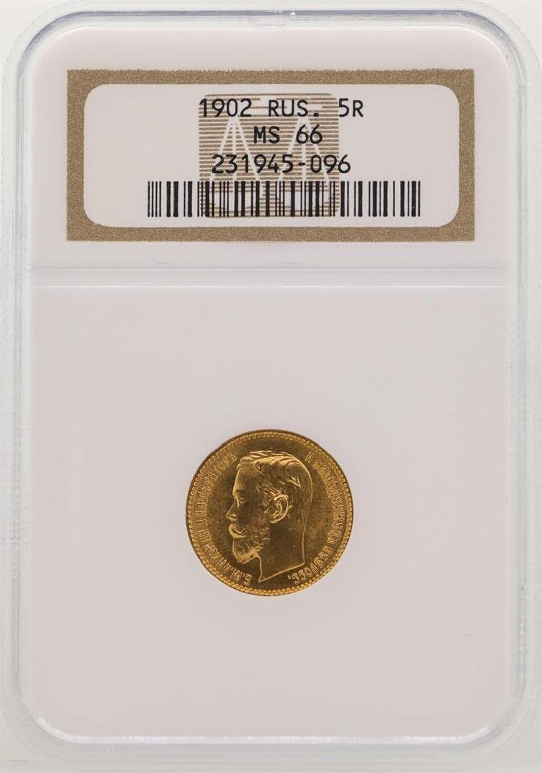 1902 Russia 5 Rubles Gold Coin NGC MS66