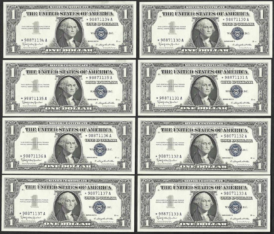 Lot of (8) Consecutive 1957B $1 Silver Certificate STAR
