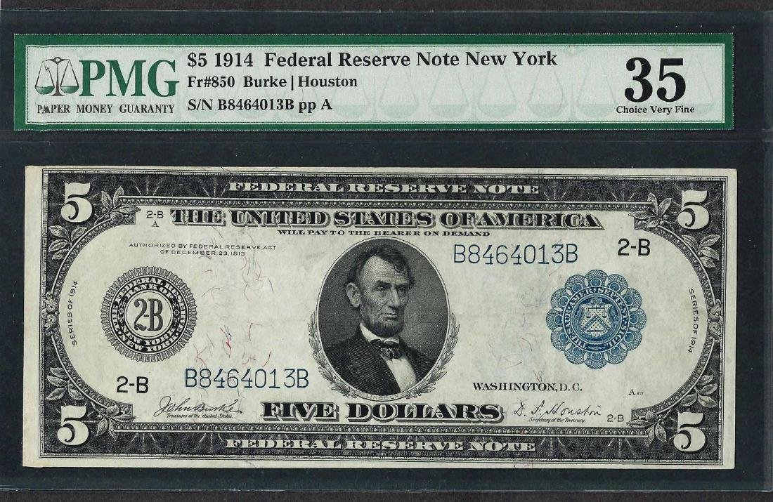 1914 $5 Federal Reserve Note New York Fr.850 PMG Choice