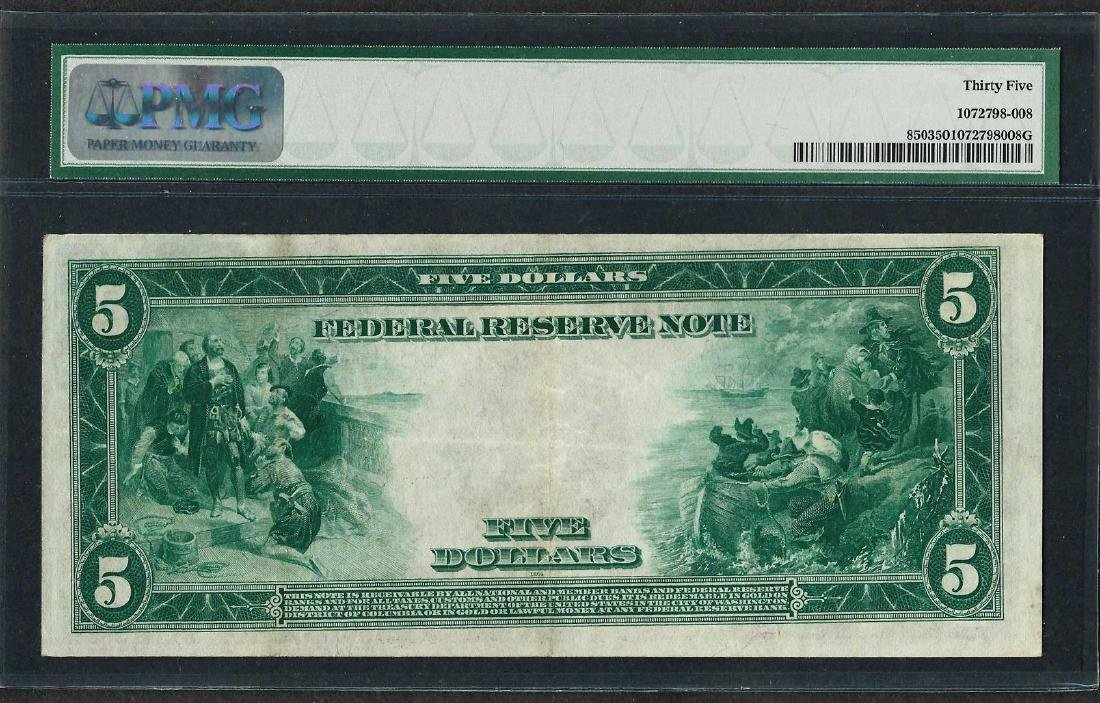 1914 $5 Federal Reserve Note New York Fr.850 PMG Choice - 2