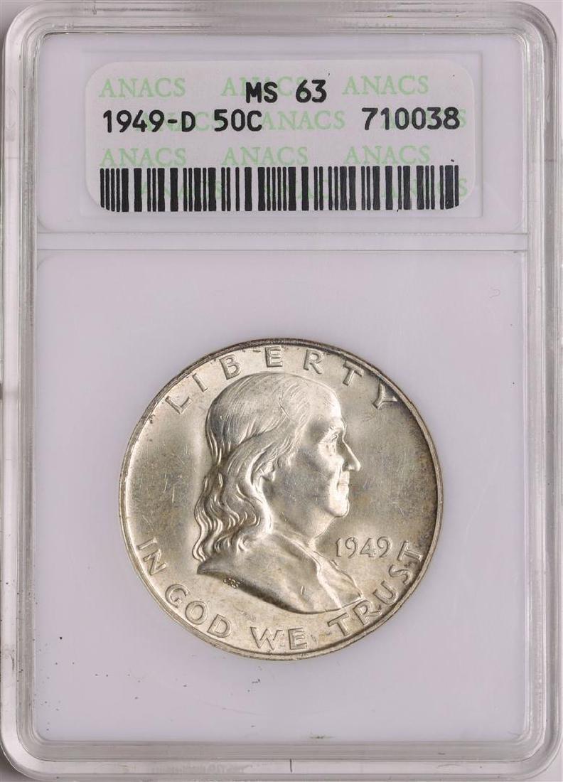 1949-D Franklin Half Dollar Coin ANACS MS63