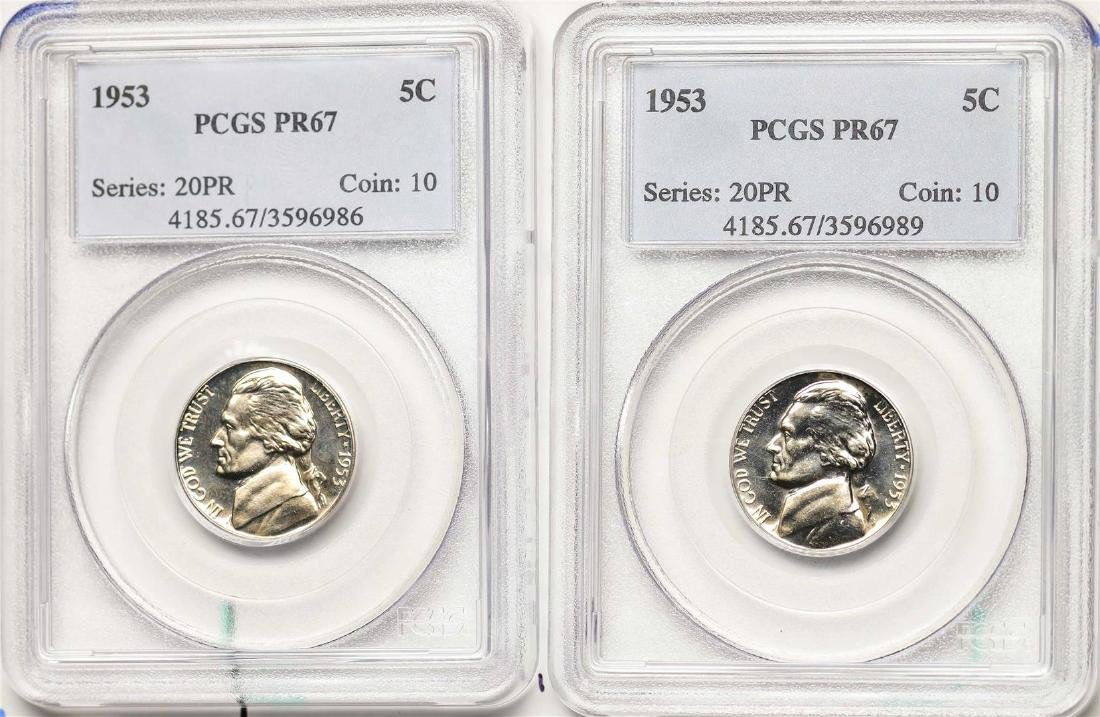 Lot of (2) 1953 Proof Jefferson Nickel Coins PCGS PR67