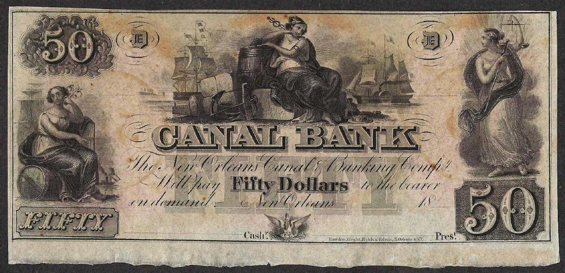 1800's $50 Canal Bank New Orleans Obsolete Note