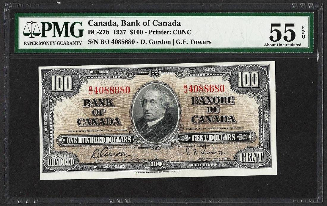 1937 $100 Bank of Canada Note BC-27b PMG About