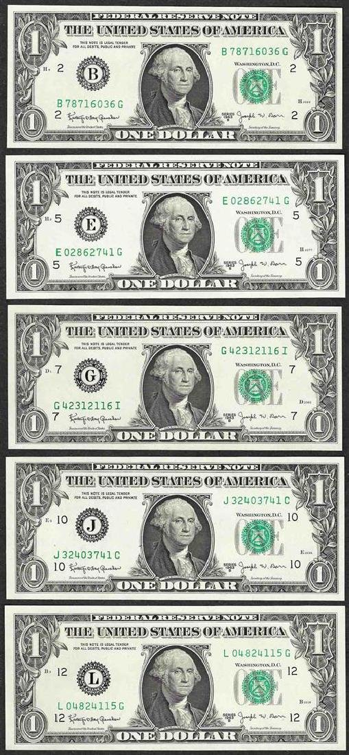 District Set of 1963B $1 Federal Reserve BARR