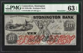 1850s60s 10 Stonington Bank Connecticut Obsolete Note