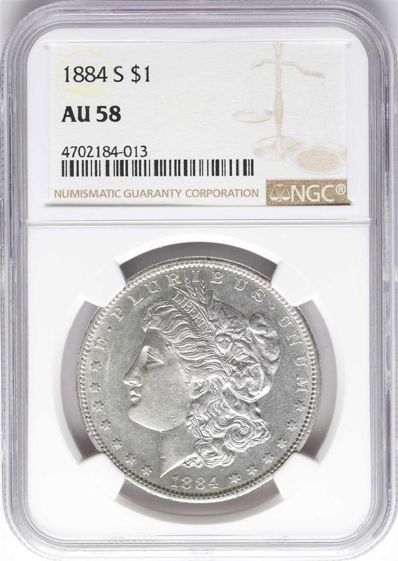 1884-S $1 Morgan Silver Dollar Coin NGC AU58