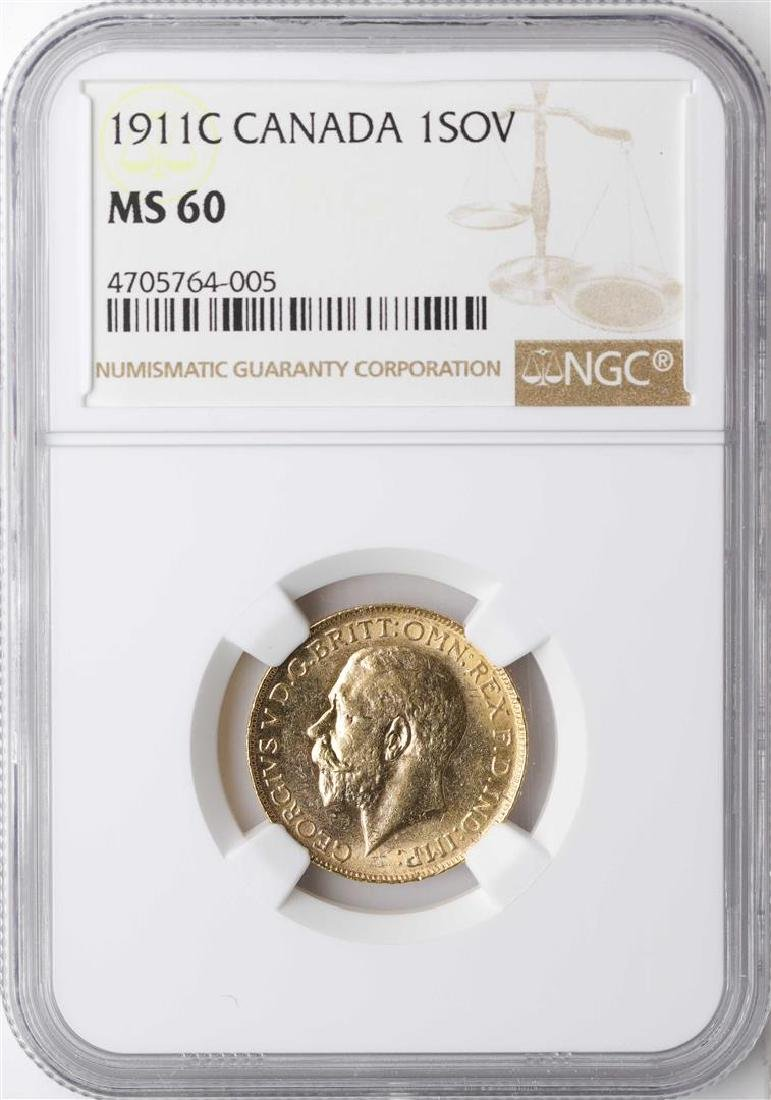 1911C Canada Sovereign Gold Coin NGC MS60