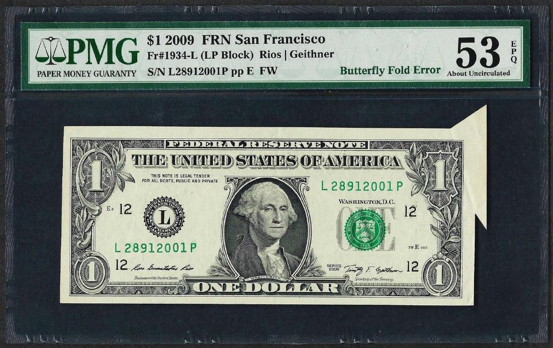 2009 $1 Federal Reserve Note ERROR Butterfly Fold PMG