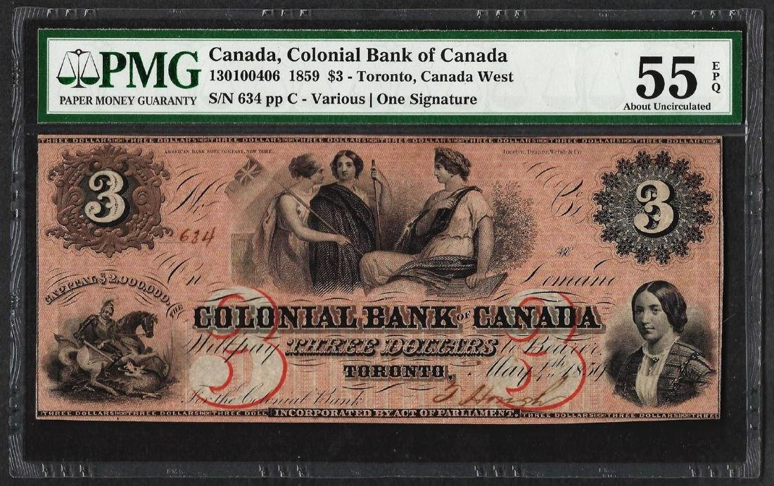 1859 $3 Colonial Bank of Canada Note PMG About