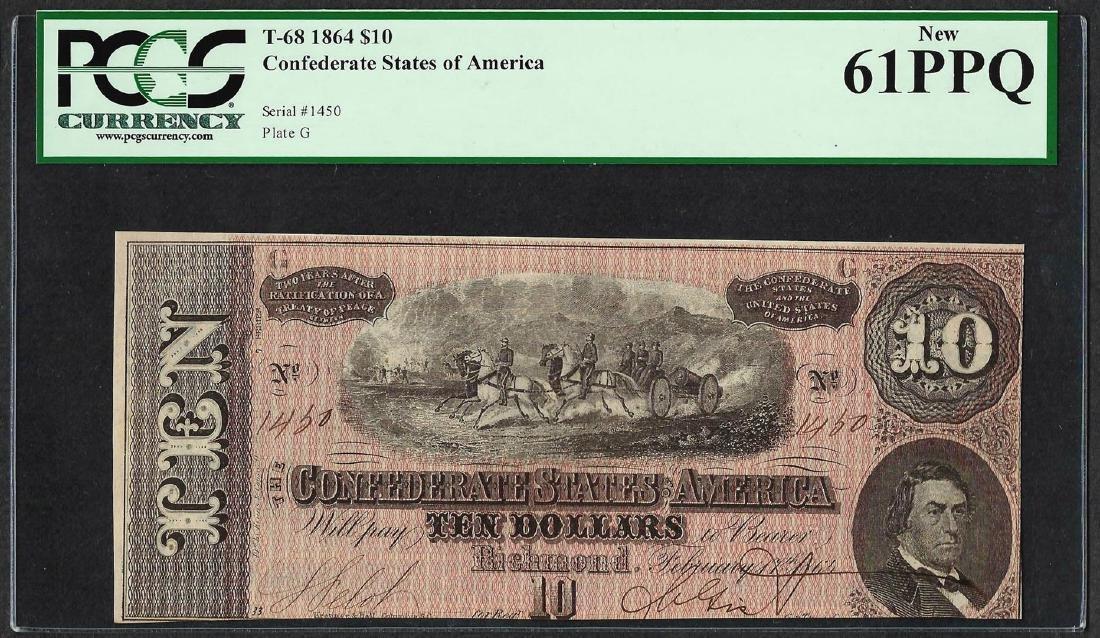 1864 $10 Confederate States of America Note T-68 PCGS