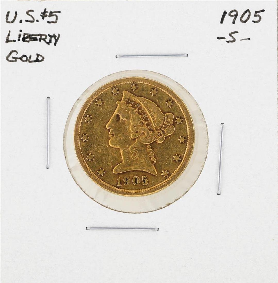 1905-S $5 Indian Head Half Eagle Gold Coin