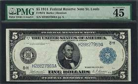 1914 $5 Federal Reserve Note St. Louis Fr.874 PMG