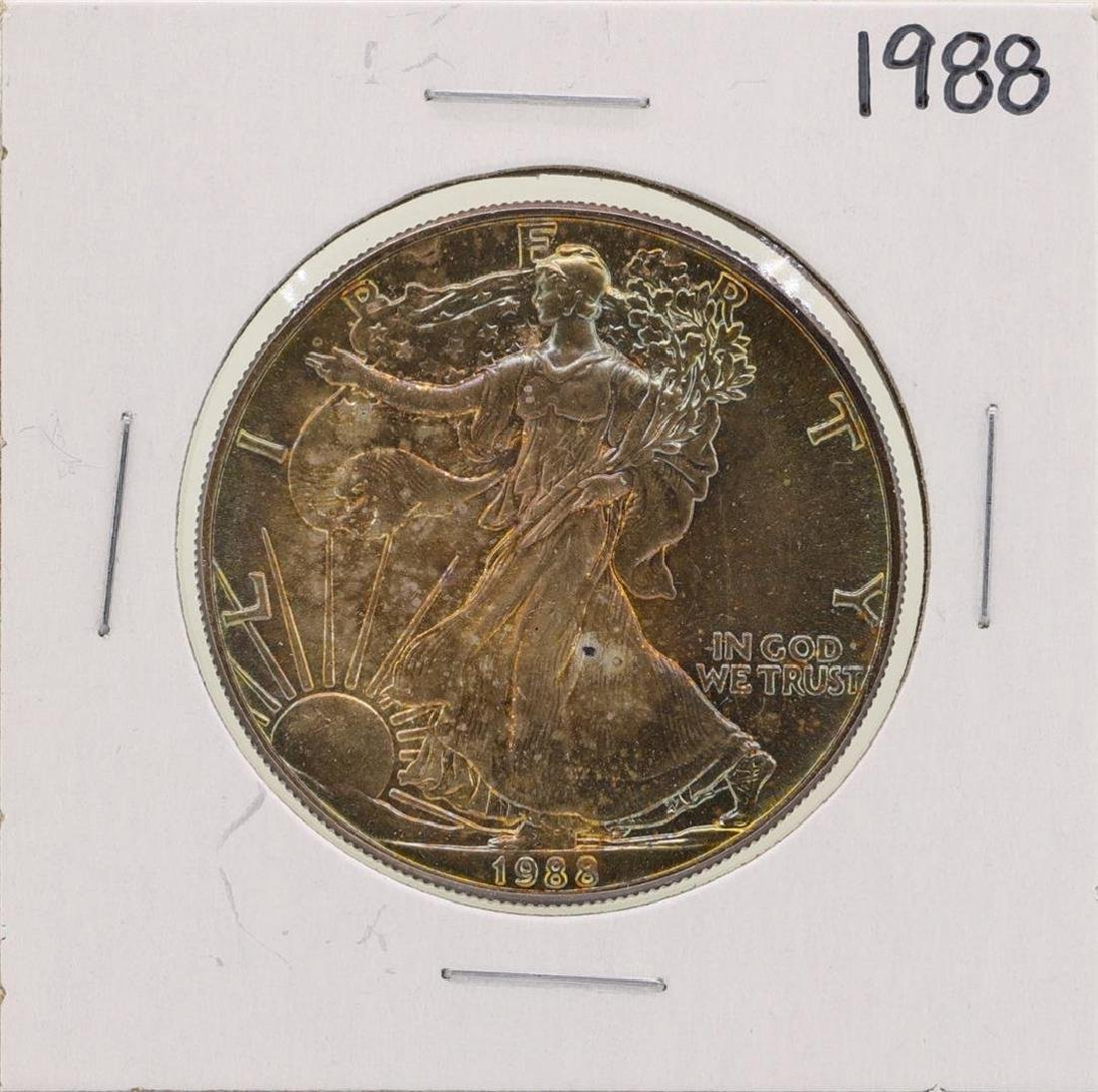 1988 $1 American Silver Eagle Coin Nice Toning