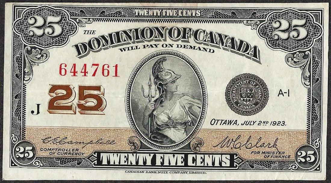 1923 Twenty Five Cents Dominion of Canada Note