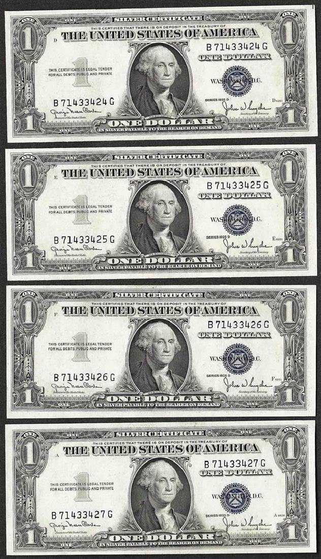 Lot of (4) Consecutive 1935D $1 Silver Certificate