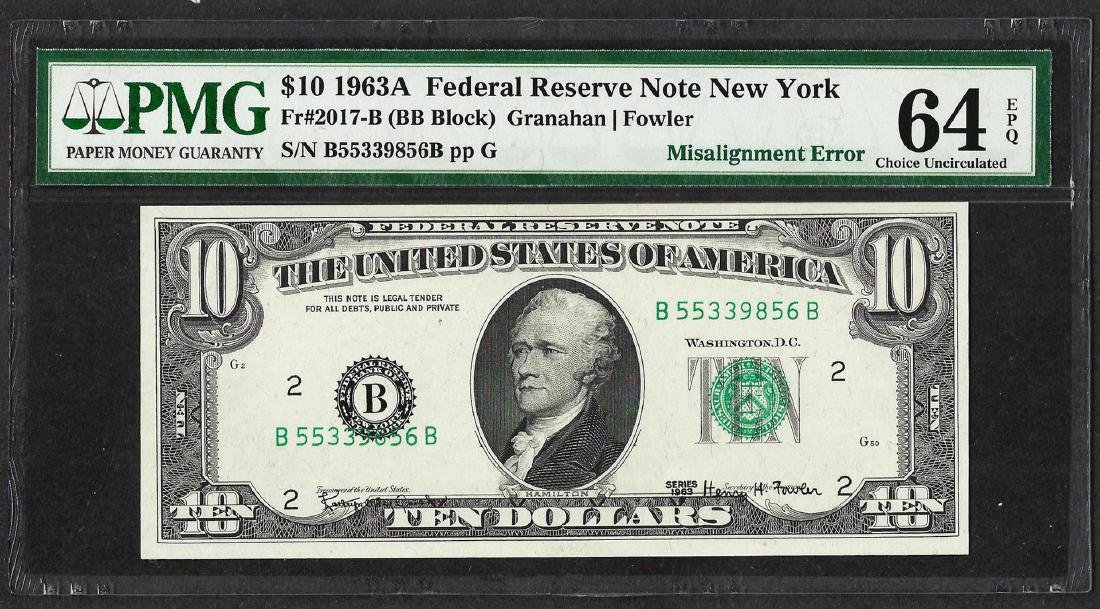 1963 $10 Federal Reserve Note ERROR Misalignment PMG