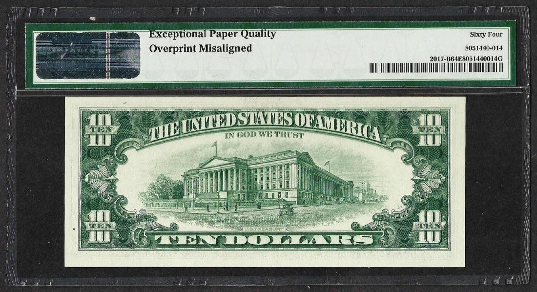 1963 $10 Federal Reserve Note ERROR Misalignment PMG - 2