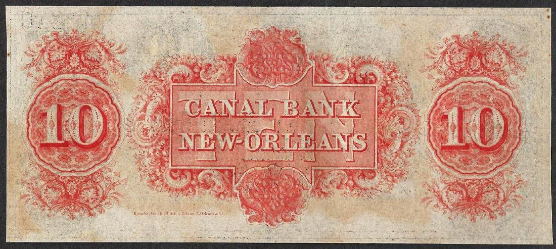 1800's $10 Canal Bank New Orleans Obsolete Note - 2