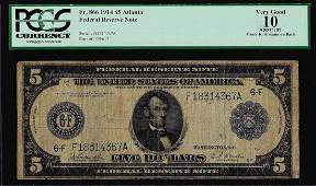 1914 5 Federal Reserve Note Atlanta Fr866 PCGS Very