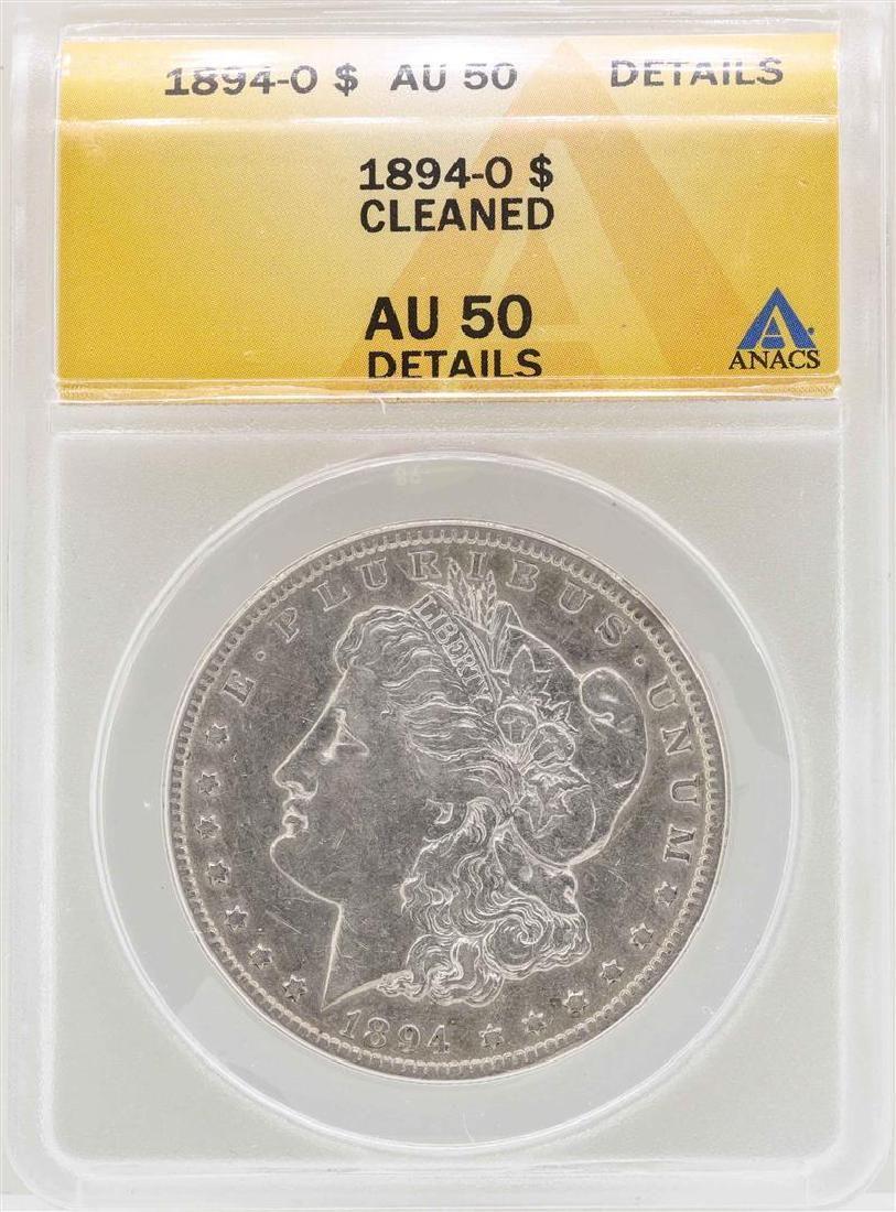 1894-O $1 Morgan Silver Dollar Coin ANACS AU50 Details
