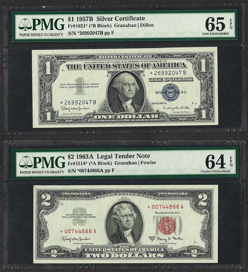 1957B $1 Silver Certificate PMG 65EPQ & 1963A $2 Legal