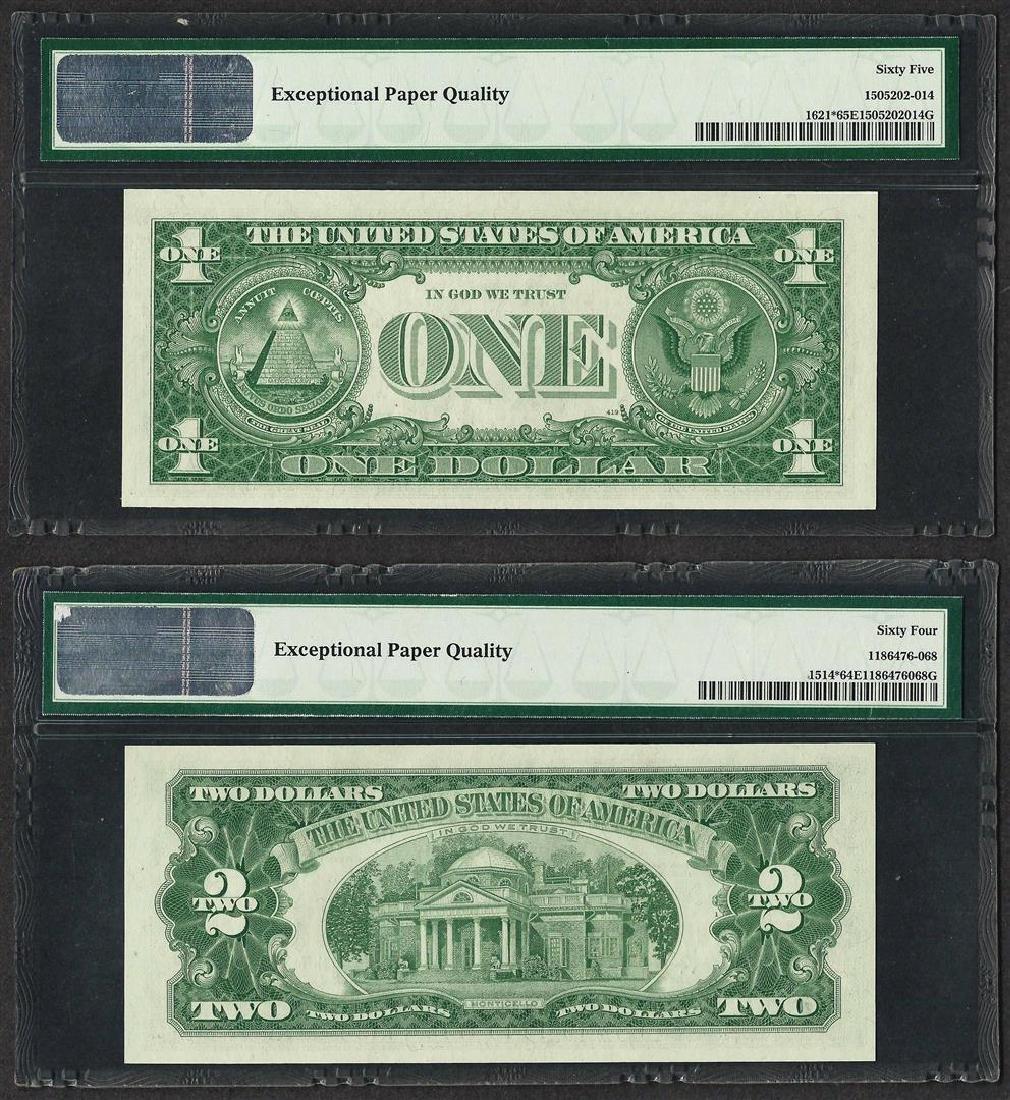 1957B $1 Silver Certificate PMG 65EPQ & 1963A $2 Legal - 2