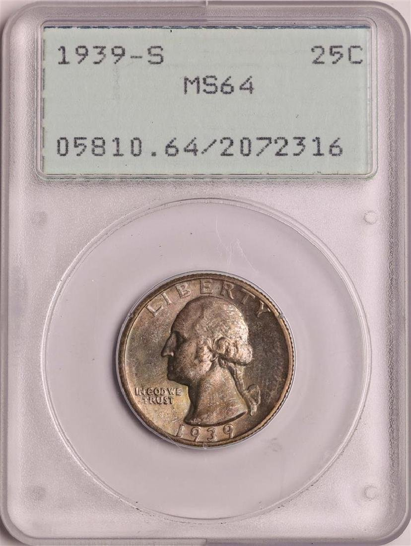 1939-S Washington Quarter Coin PCGS MS64 Old Green