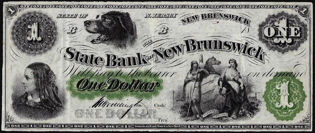 1800's $1 State of New Brunswick Obsolete Bank Note