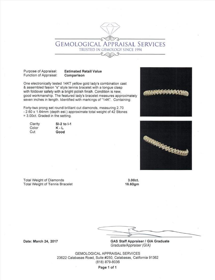 14KT Yellow Gold 3.00 ctw Diamond Bracelet - 5