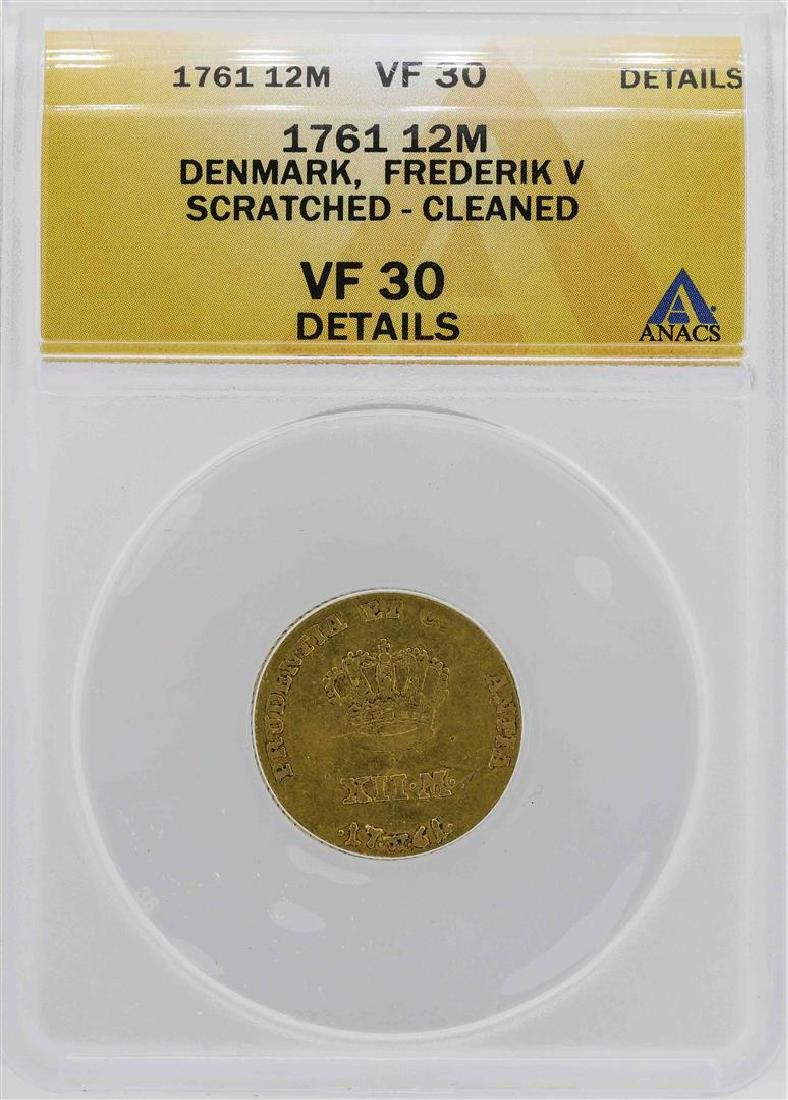 1761 Denmark Fredrik V 12 Mark Coin ANACS VF30 Details